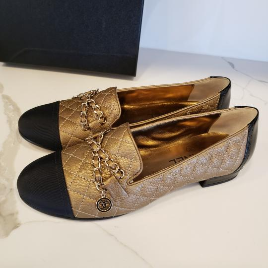 Chanel Loafers Moccasin Chain Deerskin Bronze/Black Flats Image 8