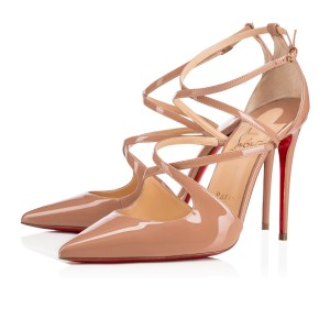 Christian Louboutin Pigalle Stiletto Classic Ankle Strap Crossfliketa nude Pumps