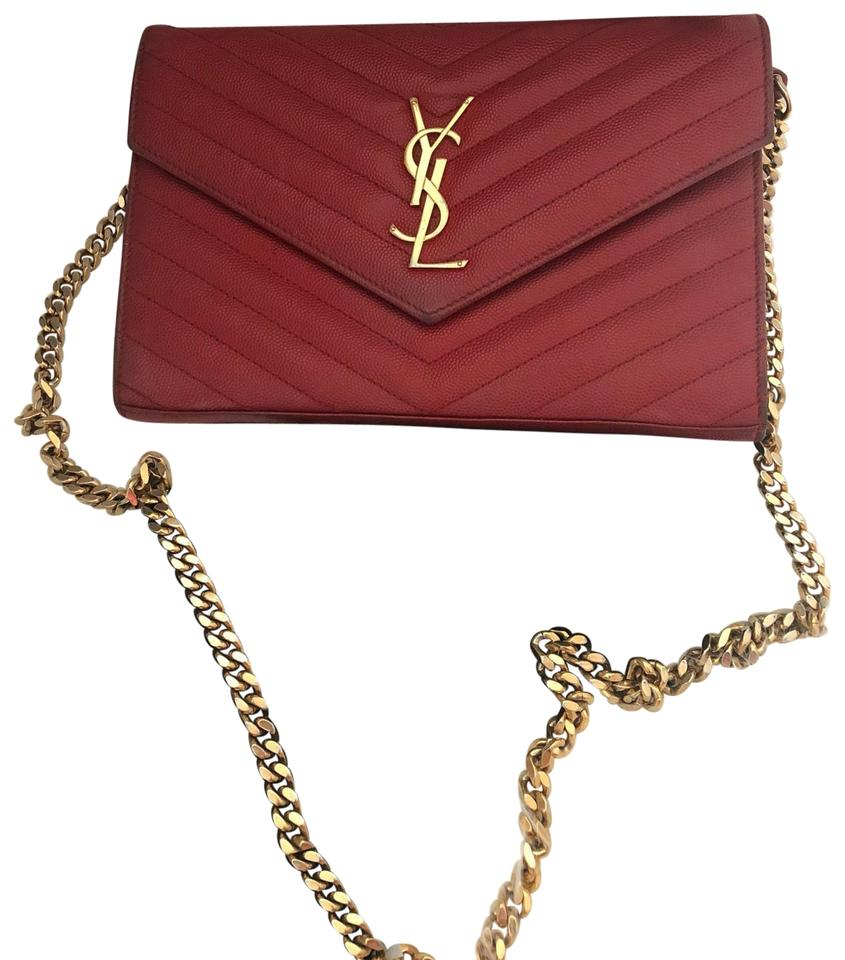 79942c1f872 Saint Laurent Wallet on Chain Matelasse Monogram Ysl Red Cross Body Bag