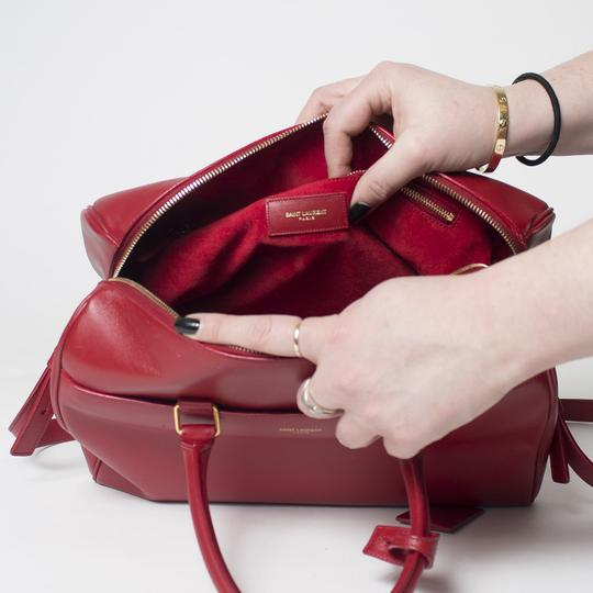 Saint Laurent Two-way Duffle Tote in Red Image 8