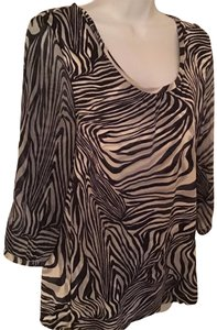 Chico's blouse Top Navy Blue and Cream