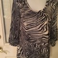 Chico's blouse Top Navy Blue and Cream Image 1