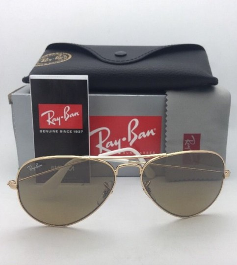Ray-Ban RAY-BAN Sunglasses RB 3025 001/3K 62-14 Gold Aviator w/ Brown+Mirror Image 1