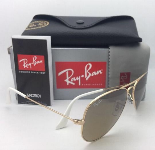Ray-Ban RAY-BAN Sunglasses RB 3025 001/3K 62-14 Gold Aviator w/ Brown+Mirror Image 10
