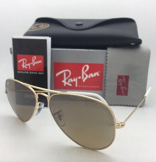 Ray-Ban RAY-BAN Sunglasses RB 3025 001/3K 62-14 Gold Aviator w/ Brown+Mirror Image 4