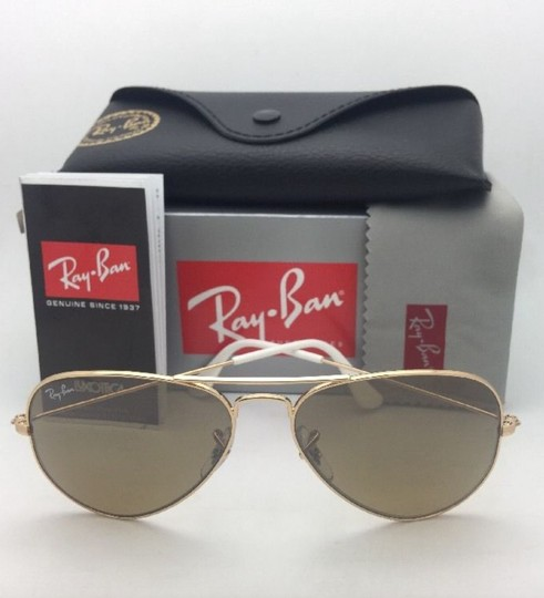 Ray-Ban RAY-BAN Sunglasses RB 3025 001/3K 62-14 Gold Aviator w/ Brown+Mirror Image 6