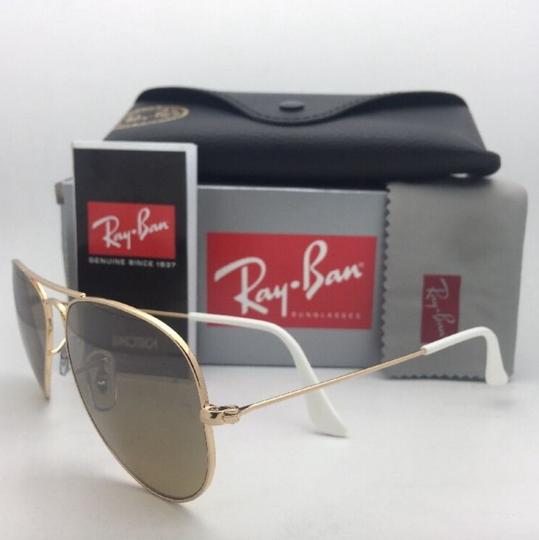 Ray-Ban RAY-BAN Sunglasses RB 3025 001/3K 62-14 Gold Aviator w/ Brown+Mirror Image 7