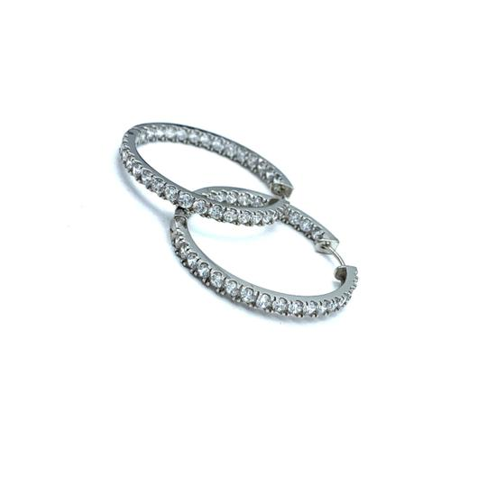 Preload https://img-static.tradesy.com/item/24859084/14k-white-gold-stoned-hoop-earrings-0-0-540-540.jpg