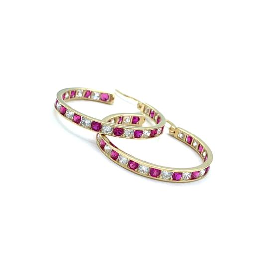 Preload https://img-static.tradesy.com/item/24859098/14k-yellow-gold-ruby-stoned-hoop-earrings-0-0-540-540.jpg