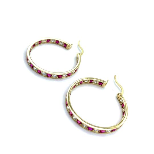 Other ruby stoned hoop earrings Image 3