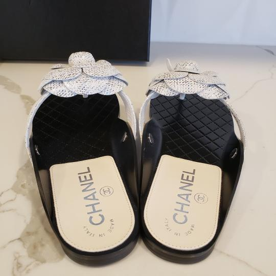 Chanel Cc Thong Metallic Camellia Fantasy White/Silver Sandals Image 5