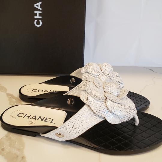 Chanel Cc Thong Metallic Camellia Fantasy White/Silver Sandals Image 7