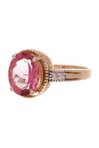 Fine Jewelry Vault Fine Jewelry Synthetic Pink Sapphire & Diamond Estate Ring - Gold