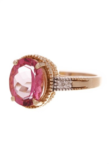 Preload https://img-static.tradesy.com/item/24859226/fine-jewelry-vault-gold-synthetic-pink-sapphire-and-diamond-estate-ring-0-0-540-540.jpg