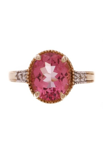 Fine Jewelry Vault Fine Jewelry Synthetic Pink Sapphire & Diamond Estate Ring - Gold Image 2