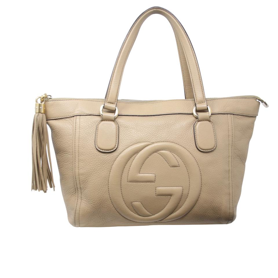 bf129a00cc8 Gucci Damier Soho Disco Dion Monogram Studded Tote in Beige Image 0 ...