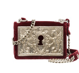 Prada Velvet Maroon Metal Cross Body Bag