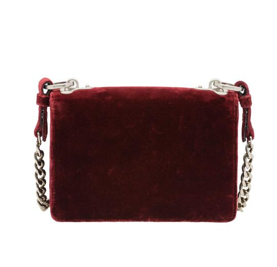 Prada Velvet Maroon Metal Cross Body Bag Image 1