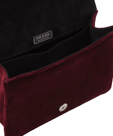 Prada Velvet Maroon Metal Cross Body Bag Image 2