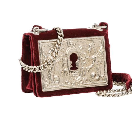 Prada Velvet Maroon Metal Cross Body Bag Image 4