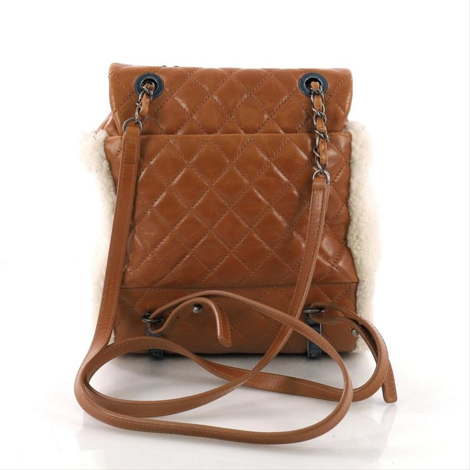 Chanel Backpack Mountain Quilted Calfskin Small Beige with Brown ... 169cd2f07a472
