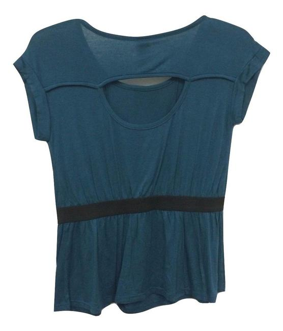 B*Envied 60's Peep Back Stretchy Soft Cap Sleeve Top Blue Image 1