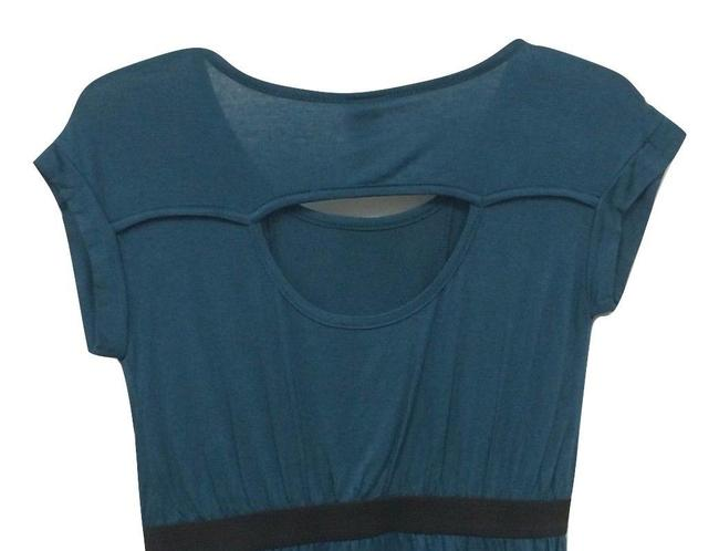 B*Envied 60's Peep Back Stretchy Soft Cap Sleeve Top Blue Image 2