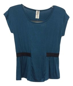 B*Envied 60's Peep Back Stretchy Soft Cap Sleeve Top Blue