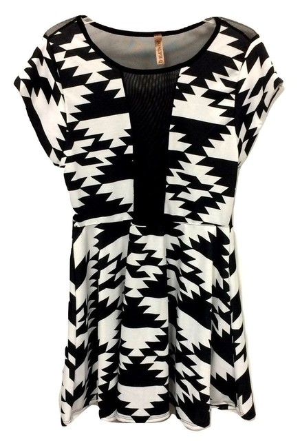 Joseph Q Art Deco Geometric Sheer Peep Mini Dress Image 0