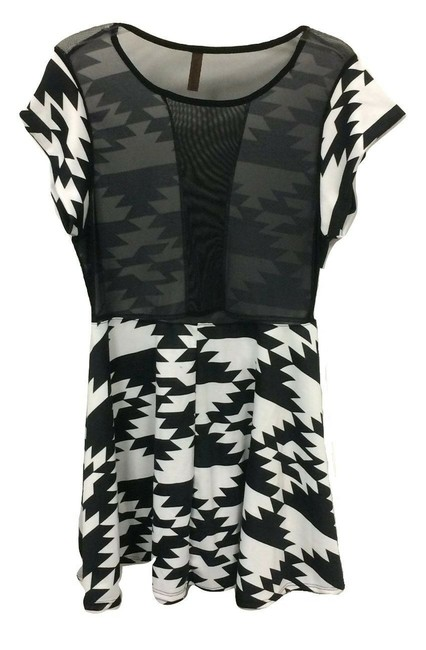 Joseph Q Art Deco Geometric Sheer Peep Mini Dress Image 1