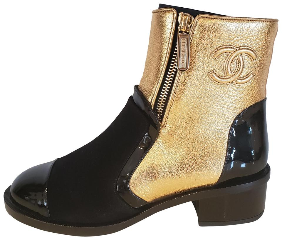 e0005fe35275 Chanel Gold Black 18b Metallic Leather Patent Suede Zip Ankle Boots Booties