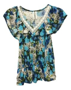 B*Envied 40's Lace Trim Stretchy Soft Top Floral Chintz