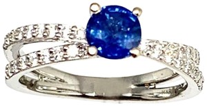 Estate CERTIFIED 2450 Sapphire & Diamond 5.38Mm Sizable 18Kt White Gold 22593