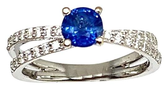 Estate CERTIFIED 2450 Sapphire & Diamond 5.38Mm Sizable 18Kt White Gold 22593 Image 1