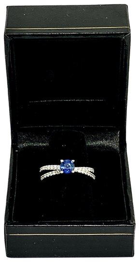 Estate CERTIFIED 2450 Sapphire & Diamond 5.38Mm Sizable 18Kt White Gold 22593 Image 10