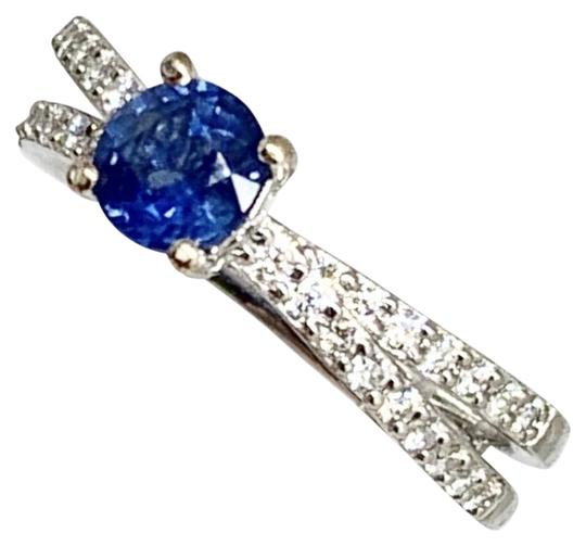 Estate CERTIFIED 2450 Sapphire & Diamond 5.38Mm Sizable 18Kt White Gold 22593 Image 3