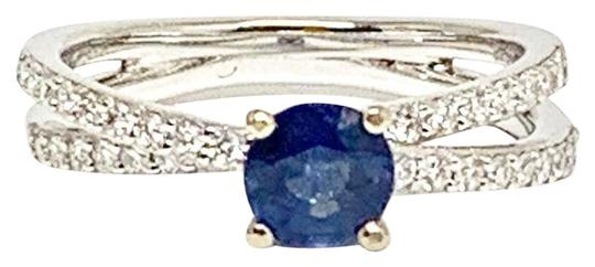 Estate CERTIFIED 2450 Sapphire & Diamond 5.38Mm Sizable 18Kt White Gold 22593 Image 4