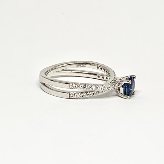 Estate CERTIFIED 2450 Sapphire & Diamond 5.38Mm Sizable 18Kt White Gold 22593 Image 6