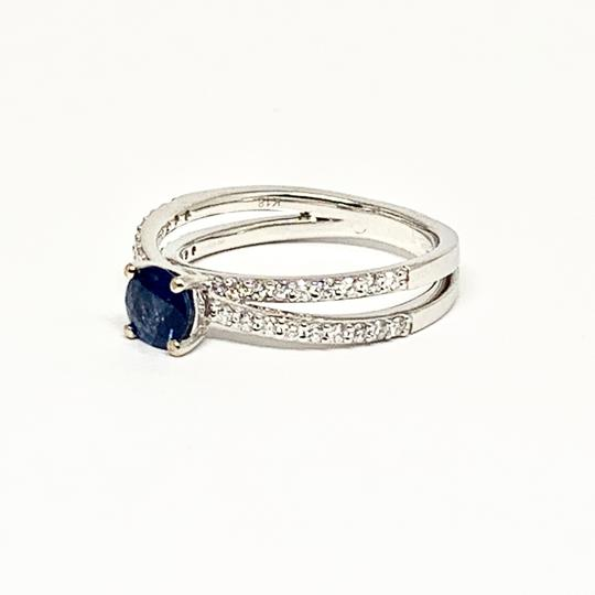 Estate CERTIFIED 2450 Sapphire & Diamond 5.38Mm Sizable 18Kt White Gold 22593 Image 7