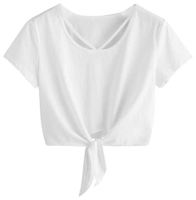 Preload https://img-static.tradesy.com/item/24859547/shein-white-v-strap-neck-knot-front-crop-tee-blouse-size-8-m-0-1-650-650.jpg