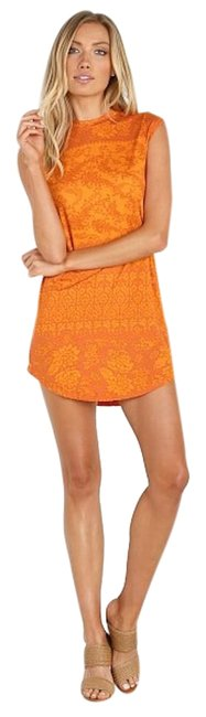Item - Tangerine Hazely Goldie Mini Bohemian Exotic Floral Print T-shirt Short Casual Dress Size 4 (S)