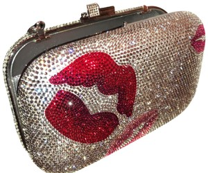 Judith Leiber Silver Red And Pink Austrian Crystals Clutch