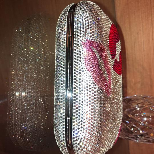 Judith Leiber Silver Red And Pink Austrian Crystals Clutch Image 7