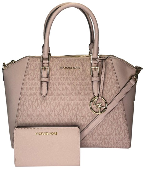 Preload https://img-static.tradesy.com/item/24859728/michael-kors-ciara-shoulder-and-slim-bifold-set-signature-mk-fawnballet-leather-satchel-0-1-540-540.jpg