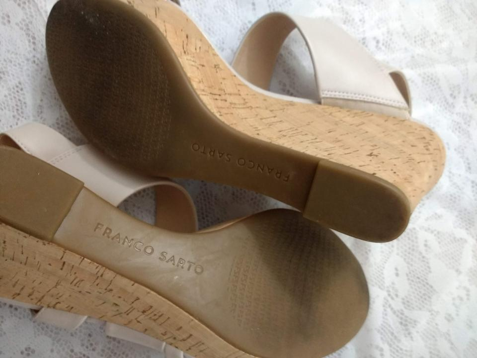 b2d5e7a5095a Franco Sarto Wedge Slingback Strap Used Adjustable Buckle Ivory Sandals  Image 5. 123456
