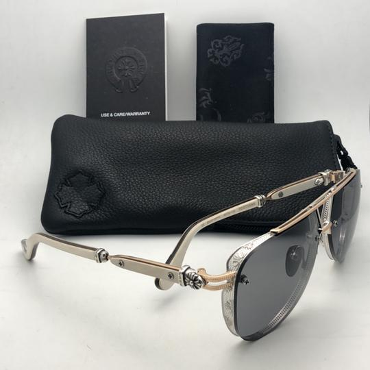 Chrome Hearts CHROME HEARTS Sunglasses POSTYANK BS/GP-WEPV Silver Gold Ebony Wood Image 6