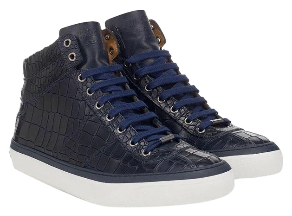 eeb30d7f08e Jimmy Choo Navy Belgravia High Top Sneakers Size US 6 Regular (M