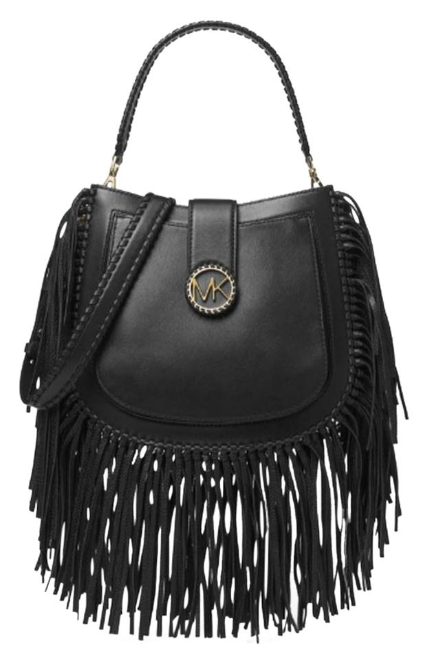 c040cd341172 Michael Kors Lillie Medium Fringed Black Leather Shoulder Bag - Tradesy