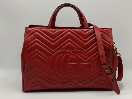 Gucci Dionysus Gg Supreme Matelasse Marmont Tote in Red Image 4