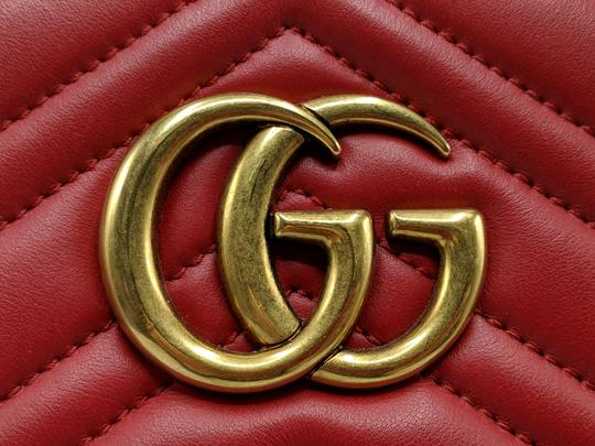 Gucci Dionysus Gg Supreme Matelasse Marmont Tote in Red Image 9